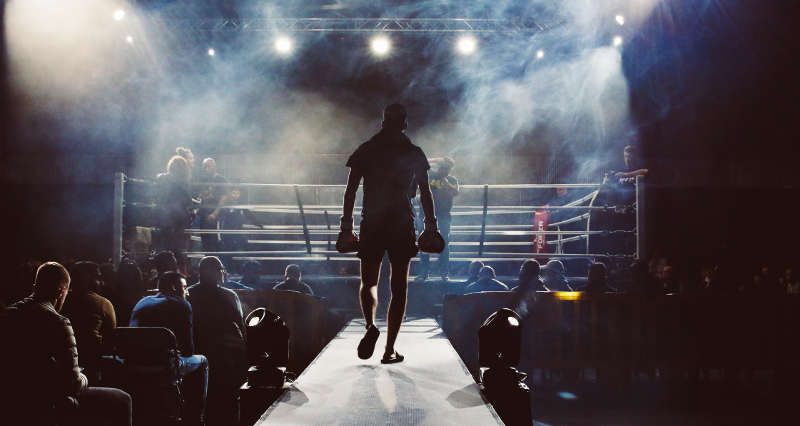 boxer approaching the ring