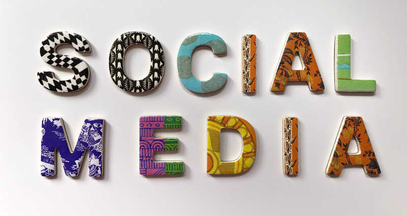 an artistic form of the words 'social media'